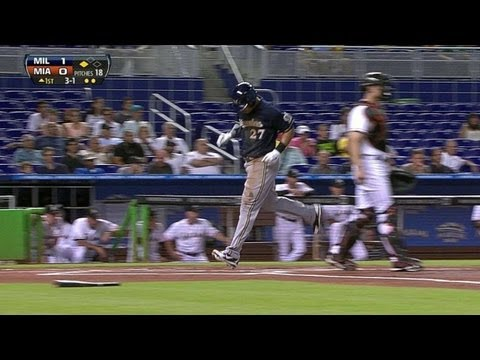 MIL@MIA: Brewers go up by two on Lucroy's RBI single