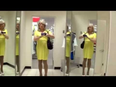 Tgirl Yellow Shopping  2of3    Hd  Matty Caff Tgirl Crossdresser Transvestite