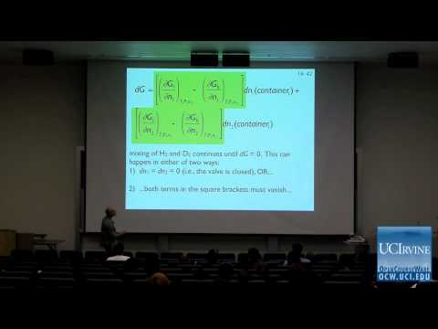 Thermodynamics and Chemical Dynamics: Lec. 16. The Chemical Potential