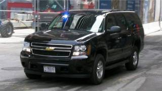 Secret Service Suburban at Ground Zero For Obama at World Trade Center New York