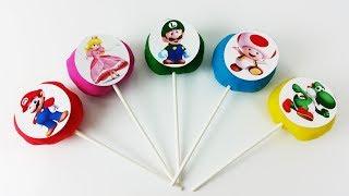 Super Mario Play Doh Lollipops Surprise Toys Learn Colors for Kids