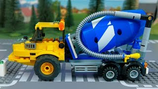 LEGO Wrong Cars Dump truck, pizza wan, police car  and concrete mixer Stop motion animation for kids