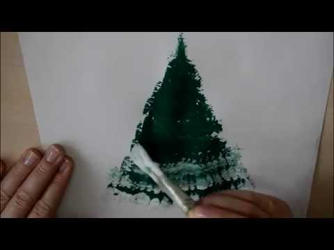 Видео как нарисовать ёлку в снегу