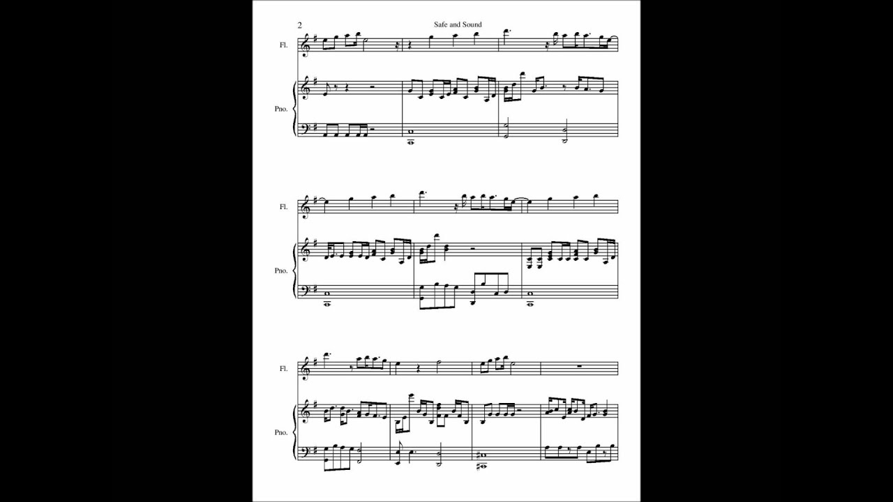 Safe And Sound Piano Sheet Music Safe And Sound Flute And Piano