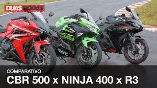 COMPARATIVO + DINAMÔMETRO | NINJA 400 x R3 x CBR 500R
