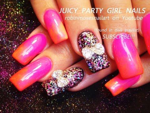 Nail Art Tutorials   Ombre Nail Art & glitter Bows   Long Diva Nails