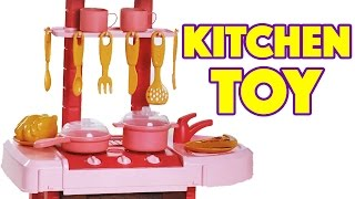 Toy Kitchen with Play Food Pots and Pans for Cooking Soup