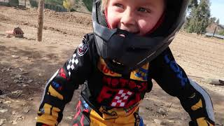 FOUR YEAR OLD LEARNS HOW TO RIDE DIRT BIKE