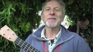 Mark Wallington (The Uke of Wallington) sings at the Open Mic at Cheltenham Uke Festival