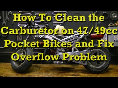 How to remove and clean Mini Pocket Rocket Bike carburetors and Fix the Overflow Problem