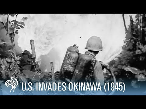 "Okinawa - American Invasion of Mainland Japan (1945). American troops occupy the island of Okinawa in Japan. The original newsreel canister notes read ""Mop u..."