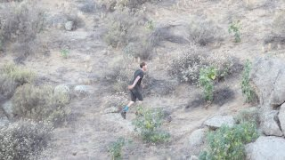 Remix Replay: Suspect Running From Riverside Police Officers Falls Face First Into Rocks on Hillside