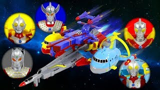 UltraMan 5in1 SpaceBattleShip Taro Seven Ace Zoffy UltraMan Deformation AirPlane Toy Transformation