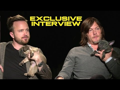 Aaron Paul and Norman Reedus Exclusive Interview with Puppies - TRIPLE 9 (2016)