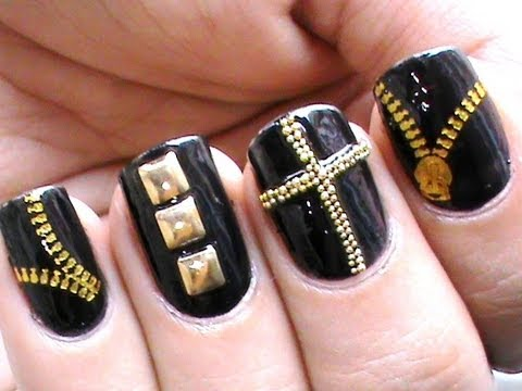 Biker Studded Nails Art  Designs Zip Nail Water Decals How To DIY Nail Polish Easy