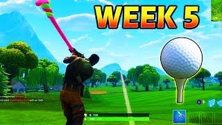 *Hit a golf ball from tee to green on different holes* Fortnite Week 5 Challenges (EASY)