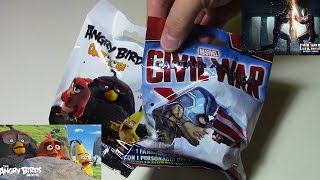 NEW Angry Birds Occhiolotti | Captain America Civil War avengers Blind bags 2016 GAMESHOP ed.