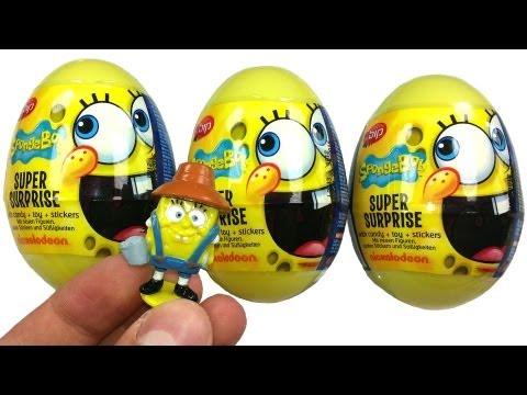 3 SPONGEBOB Super Surprise Eggs Unboxing