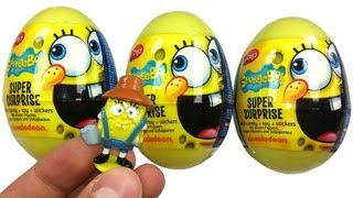 3 SPONGEBOB Super Surprise Eggs Unboxing