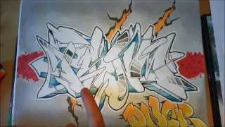 "Wildstyle graffiti speed drawing commenté // Graff sur papier promarker (""PSYM oner"") [HD]"