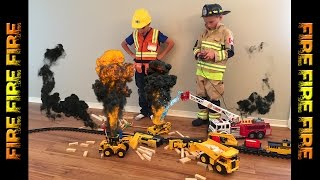 FIRE FIRE!!! Fireman to the rescue: Train crash on FIRE!!!