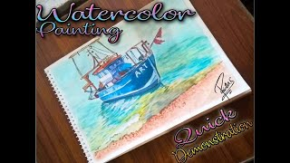 Watercolor Painting Demonstration\\Small fishing boat near the beach