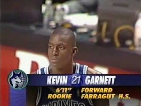 The 19 year old Kevin Garnett makes his debut in the NBA on this 1995-96 season opener. He looks anxious as hell (it's the reason for including some seemingl...