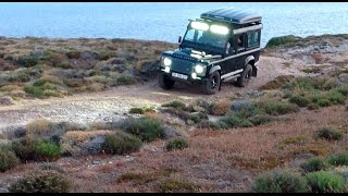 Defender TD4 Led Lights Bar Test in Sardegna July2015