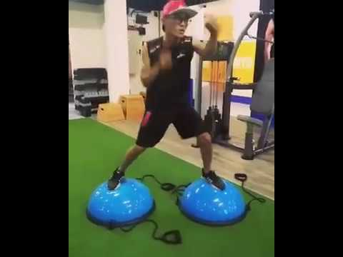 Balance training in boxing...