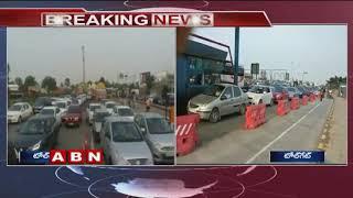 Dussehra Effect   Huge Traffic Jam at Vijayawada Toll Gates