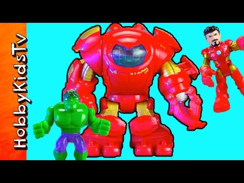 Hulkbuster Iron Man Hulk Playschool Heros Star Tech Armor Toy Review by HobbyKidsTV