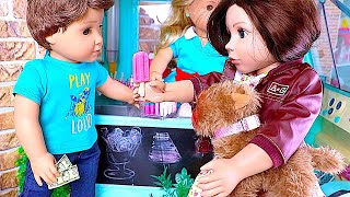 Play American Girl Doll Morning Routine & Dog Puppy Birthday!