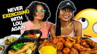 40 PIECES OF KOREAN CHICKEN WITH SPICY RAMEN MUKBANG AND CHEESE + NEVER EXERCISING WITH MY GF AGAIN!
