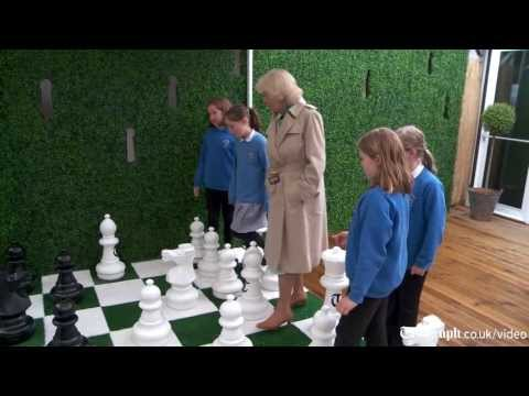 Hay Festival 2013: Duchess of Cornwall plays chess at Telegraph tent