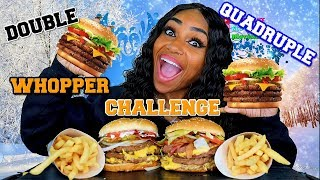 Double Quadruple Bacon and Cheese Whopper Challenge