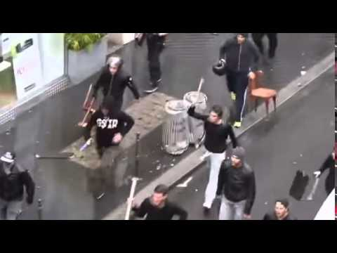 Israeli Vigilantes Attacking Pro Palestinian Protesters in Paris August 2014