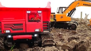 "DiRT RiDGE DEMOLiTiON! 1/12 scale 4200xl DiGGER & Tracked ""Spyker KAT"" Dump Truck | RC ADVENTURES"