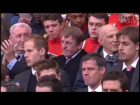 Kenny Dalglish gets a standing ovation. He looks distraught, tries a weak smile