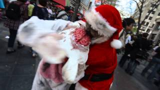 Zombie Santa Claus eats Easter Bunny Brains