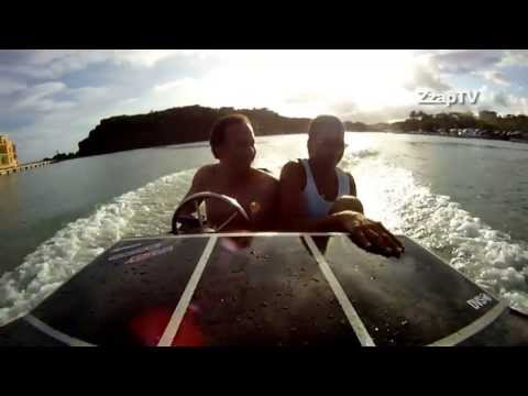 Catamaran hull speed boat test drive