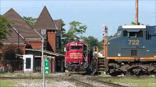 IORY 4036 meets CSX 722 at NS Tower Lima Ohio