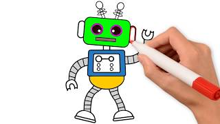 Toy Robot Drawing & Coloring Pages for Kids to Learn Colors