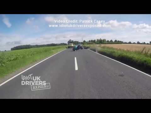 UK Motorbike Crash caught on dash cam. Idiot Driver Fails to stop after accident