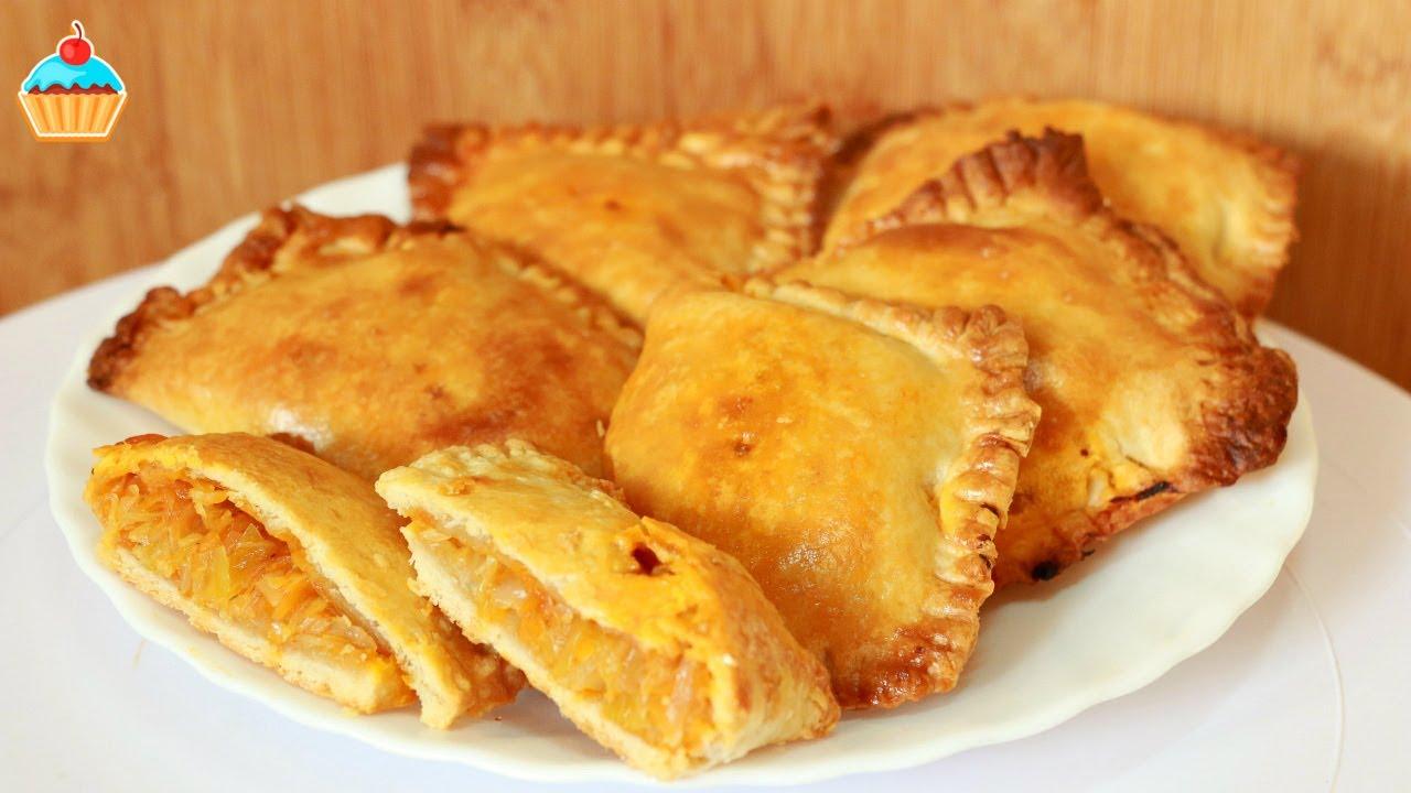 Пирожки из слоёного теста с капустой в духовке пошаговый рецепт с фото