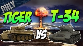 War Thunder Tanks! 9 TIGER TANKS VS 16 T-34 TANKS!
