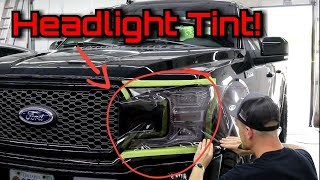 HARD TINT JOB 4 SHOPS TURNED DOWN. FORD F-150 Easiest Headlight / Tail Light Tint To Use