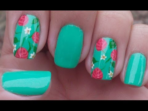 Unhas Decoradas Com Rosas Manual Bela e Simples Nail Art