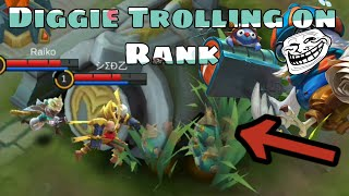 FUNNY DIGGIE PREDICTIONS   TROLL ON RANK   MOBILE LEGENDS FULL DIGGIE GAMEPLAY
