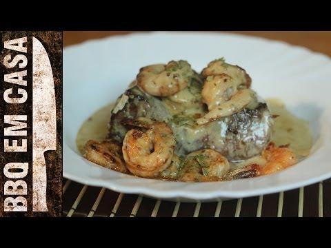 RECEITA DE FILET MIGNON COM CAMARÃO AO MOLHO DE QUEIJO (beef tenderloin with shrimp)