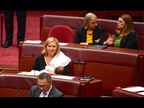 Australian Senator Larissa Waters becomes first to breastfeed in parliament